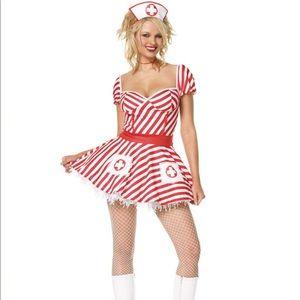 Candy Striper Nurse Halloween Costume & Petticoat